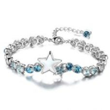 Nevi Star Round Swarovski Elements Rhodium Plated Crystal Metal Brass Charm For Girls (Blue & Silver) for Rs. 1,430