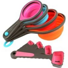 Buy Okayji Silicone Measuring Cups and Spoon Set, 8-Pieces, Multicolour from Amazon