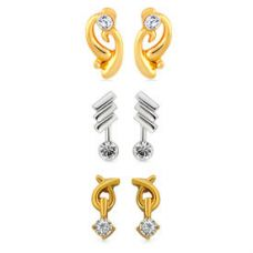 Mahi Combo of three pairs of Stud Earrings with Cr for Rs. 229