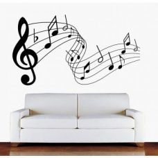 Decor Kafe Music Notes Flying Wall Decal