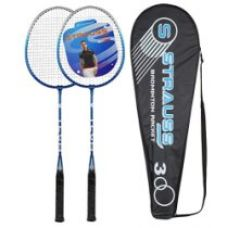 Buy Strauss V Tech 1012 Badminton Racquet 2 Pieces with Cover (Black/Blue) from Amazon