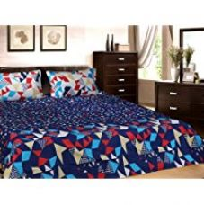 Buy Trident Designer Solid,Traditional,Geometric 100% Cotton Double Bed sheet With 2 Pillow Covers - Constellation || from Amazon