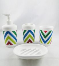 Get 39% off on Go Hooked Multicolor PVC 4-piece Bathroom Accessories Set (Model: G-599)