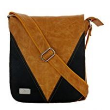 K London Artificial Leather Handmade Men Women Unisex Crossover Shoulder Messenger Bag Office Bag College Bag (Yellowish Tan,Black) (1304_Tan) for Rs. 639