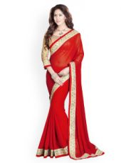 Buy Mirchi Fashion Red Embroidered Georgette Fashion Saree from Myntra