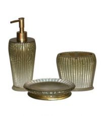 Buy Plumeria Golden Resin Bathroom Accessories - Set of 3 from PepperFry
