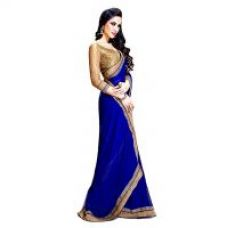 Buy Bhuwal Fashion Georgette Saree With Golden Border  Unstitched Blouse ( Colors Available) for Rs. 299