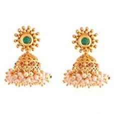Buy Ganapathy Gems 1Gram Gold Plated Jhumki With Pearl Drops (8560) 8560 from Amazon