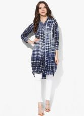 Flat 50% off on Biba Navy Blue Printed Kurti