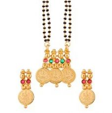 Buy Valentine Gifts: Voylla Traditional Alloy With Yellow Gold Plating Faux Stone Mangalsutras For Women, Girlfriend & Wife from Amazon