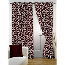 Buy Bedspun Tansy Premium Floral Eyelet Polyester Door Curtain - 7ft, Maroon from Amazon
