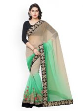 Get 80% off on Kalista Beige & Green Embroidered Chiffon Embellished Saree