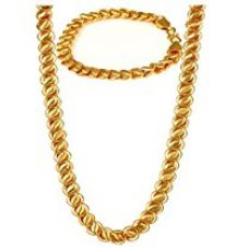Buy Charms Combo Of Gold Plated Bracelet & Chain For Mens & Boys from Amazon