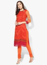 Flat 50% off on Biba Red Printed Polyester Cotton Kurta