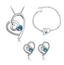 Buy Nakabh Blue Crystal Combo Jewellery Heart Shaped of Pendant Necklace Set With Earrings & Bracelet For Girls and Women in Love from Amazon