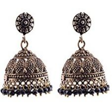 Ganapathy Gems Metal Jhumki Earring For Women (Black) for Rs. 325