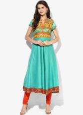 Biba Green Printed Poly Cotton Kurta for Rs. 1000