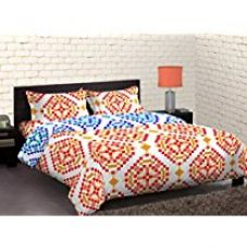 Buy Home Expression USA Valance Abstract Polycotton Double Bedsheet with 2 Pillow Covers - Queen Size, Multicolor from Amazon