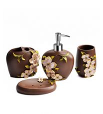 Shresmo Chocolate Polyresin Flora 4-piece Bathroom Accessory Set for Rs. 2,319