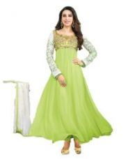 Buy Suits Sarees & Lehenga Green Georgette Anarkali Semi-Stitched Suit from SnapDeal