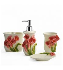 Buy Shresmo White Polyresin Flora 4-Piece Bathroom Accessory Set for Rs. 2,319