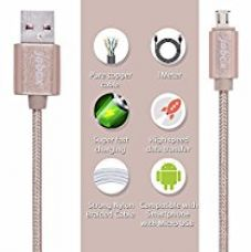 Buy Nylon Braided original tough Micro USB cable fast charging, 1 Meter long Universal Data Cable - Premium quality, Tangle Free, High-Speed Data Sync. Compatible with almost all Android and Windows devices. - Amazon fulfilled , 2.4Amps, Gold - By Jabox from Amazon