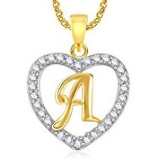 Meenaz Gold Plated Alphabet 'A' Letter Heart Pendant Locket With Chain For Men And Women PS396 for Rs. 299