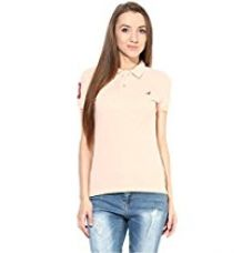 Buy American Crew Women's Polo Collar Solid With Applique Peach T-Shirt - L (ACW723-L) from Amazon