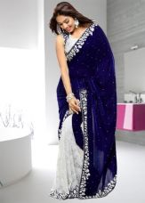 Flat 69% off on Navy White Velvet Brasso Half N Half  Saree