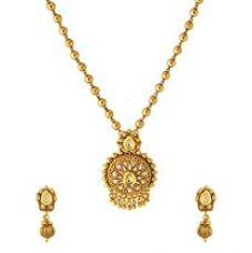 Valentine Gifts: Voylla Traditional Gold Copper Necklace Set For Women, Girlfriend & Wife for Rs. 457