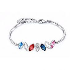 Buy NEVI Flower Leaf Fashion Swarovski Crystals Rhodium Plated Brass Kada Bracelet Jewellery for Women And Girls (Multi-Colour) from Amazon