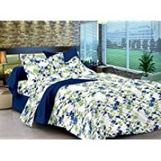 Ahmedabad Cotton Comfort 160 TC Cotton Double Bedsheet with 2 Pillow Covers - Floral, Blue for Rs. 479