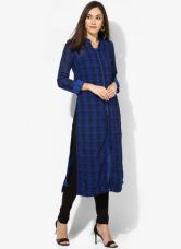 Buy Biba Blue Printed Kurta With Lining for Rs. 850