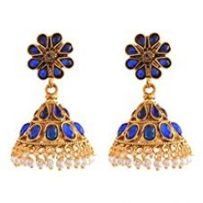 Buy Ganapathy Gems 1Gram Gold Plated Jhumki With Blue Stones And Pearls Drops (8022) 8022 from Amazon