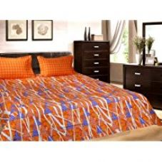 Buy Trident Designer Floral,Solid,Geometric 100% Cotton Double Bed sheet With 2 Pillow Covers- Orange & Purple from Amazon