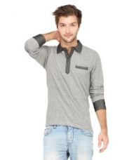 Campus Sutra Grey Polo T Shirts for Rs. 549