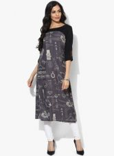 Buy W Grey Printed Viscose Kurta from Jabong