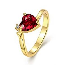 Yellow Chimes 'Queen Heart' 18K Gold Plated Austrian Crystal Red Heart Ring For Women and Girls for Rs. 350