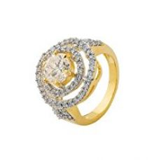 Buy Voylla Traditional Gold Brass Ring For Women from Amazon