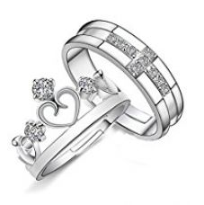 Buy Yellow Chimes Darling Heart Crown 925 Sterling Silver Plated Crystal Proposal Couple Rings for Girls and Boys. Perfect for Couple! from Amazon