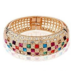 Buy Yellow Chimes Luxury Princess Swiss Zircons 18K Rose Gold Plated Bangle Bracelet for Women & Girls from Amazon