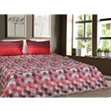 Buy Trident Designer Floral,Abstract,Traditional 100% Cotton Double Bed sheet With 2 Pillow Covers- Red & Black from Amazon