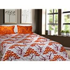 Buy Trident Designer Traditional,Solid,Abstract 100% Cotton Double Bed sheet With 2 Pillow Covers- Orange,White & Brown from Amazon