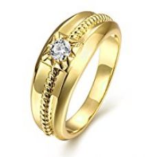 Yellow Chimes Single Stone Centered 18K Gold Plated Cubic Zircon Ring For Women for Rs. 499