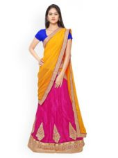 Get 60% off on Yellow & Pink Embellished Georgette & Satin Semi-Stitched Lehenga Choli with Dupatta