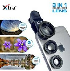 Buy XTRA Universal Clip-On 3 in 1 Mobile Cell Phone Camera Lens Kit, 180 Degree Fisheye Lens + 0.67X Wide Angle + 10X Macro Lens, With Lens Clip Holder, Black from Amazon