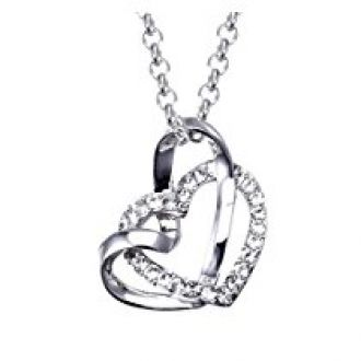 Buy NEVI Heart in Heart Fashion Crystals From Swarovski Rhodium Plated Princess Pendant Chain Jewellery for Women & Girls (Silver) from Amazon