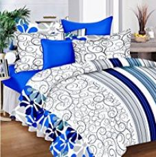 Buy Hi-Life Premium Ahmedabad Cotton Double Bedsheet with 2 Pillow Covers - Blue from Amazon