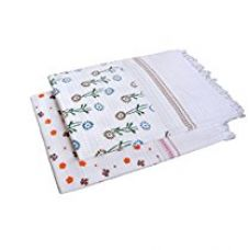 Buy S4S Floral White Cotton Bath Towel (Pack of 2) from Amazon
