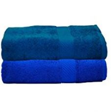 Buy Trident 2 Piece Men's Cotton Bath Towel Set - Neon Blue and Teal Sachet from Amazon